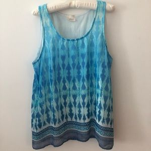 Blue patterned sleeveless top